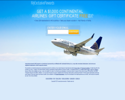 Get a $1000 Continental Airlines Gift Certificate For Free