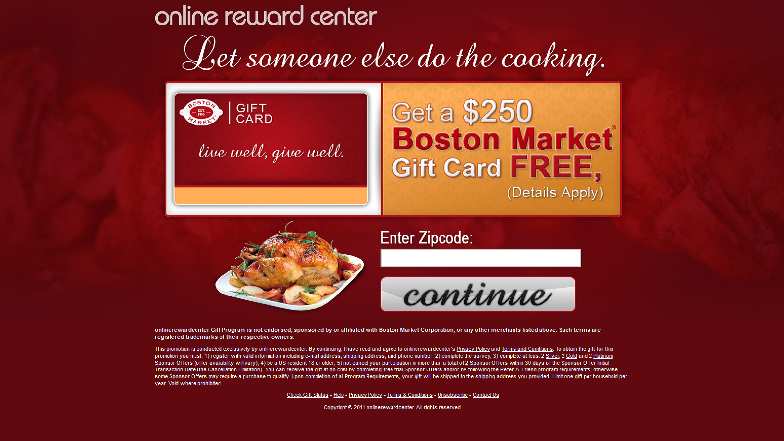 Get a $250 Boston Market Gift Card For Free