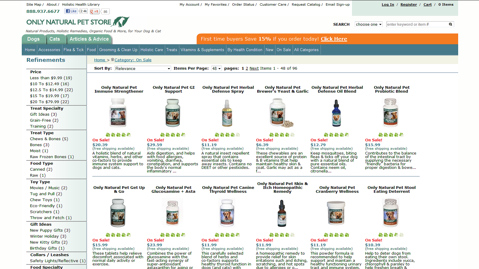 Save 15% On Natural Pet Products