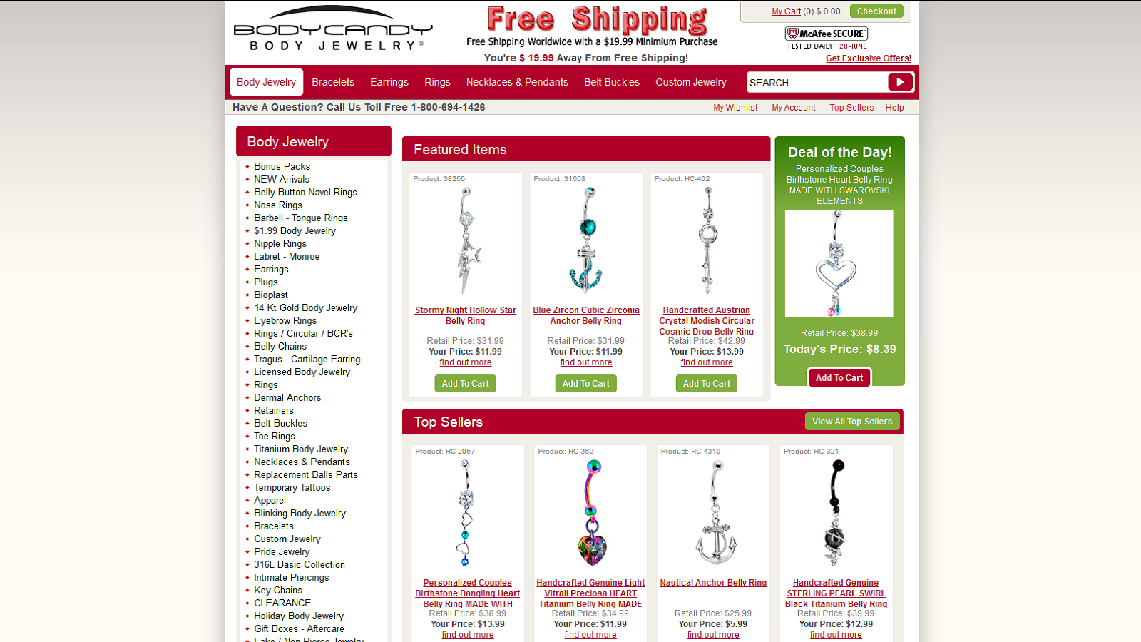 Save On All Body Jewelry